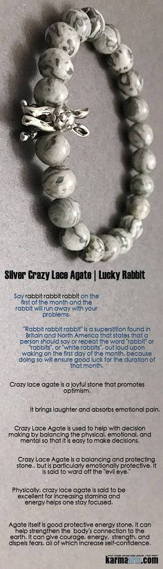 LUCKY BUNNY: Silver Crazy Lace Agate Rabbit Chakra Yoga.  Yoga Bracelets. Lucky Rabbit Bunny Jewelry. Reiki Meditation Chakra Jewelry. Kundalini Bracelet.                   #Rabbit #Mens #Good #Lucky #womens #Jewelry #CrystalsEnergy #gifts #Chakra #reiki #Healing #Kundalini #Law #Attraction #LOA #Love #Mantra #Mala #Meditation #prayer #mindfulness #wisdom #CrystalEnergy #Spiritual #Gifts #Mommy #Blog #friendship