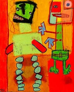 Party Rock in The House Hoke Outsider Abstract Raw Art Brut Original Painting | eBay
