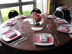 setting tables for a baby shower.