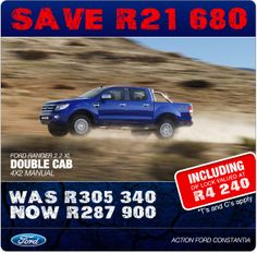 Save R21 680! Ford Ranger 2.2 Double Cab 4x2 Manual, now R287 900. Includes Dif Lock valued at R4 240.