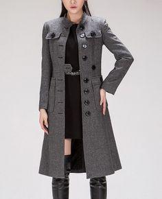 Big Pockets Slim Style Retro Wool Coat Womens Fleece by zeniche