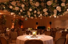 Various styles of chandelier or ceiling installation available dressed with artificial foliage or flowers, plus hanging lanterns, pealights and other forms of Wedding Venues Uk, Hotel Wedding, Wedding Events, Event Themes, Event Decor, Wedding Dreams, Dream Wedding, Wedding Designs