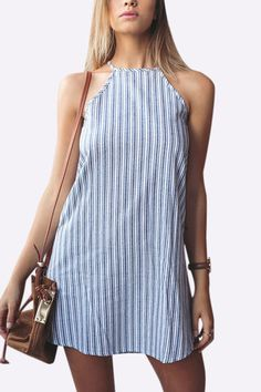 Stripe Pattern Sleeveless Round Neck Mini Dress