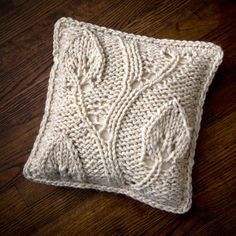 Bulky Leaves  14x14 Hand Knit Pillow  Made to by TheCreativeGene, $48.00