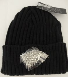 f6425954ddb Game Of Thrones Stark 3D Sculpted Metal Chrome Beanie Cuff Knit Hat Nwt   Bioworld