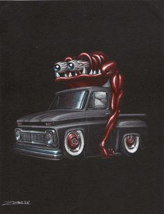 34 Trendy Ideas For Chevy Truck Tattoo Message Board Old Pickup Trucks, Big Trucks, Jdm, Truck Tattoo, Cool Car Drawings, Pink Truck, 1957 Chevy Bel Air, Truck Art, Garage Art