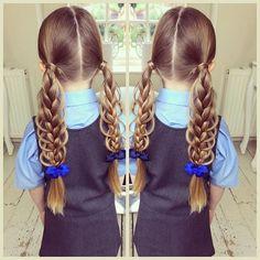 Loop Braid Pigtails for school today  #sweetheartshairdesign #schoolhair #schoolbraid #loopbraid #plait #peinado #trenza #tresse
