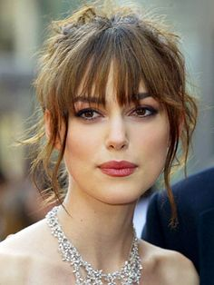 I Wish I Could Rock #Bangs! #fringe #hair #hairstyles #keiraknightly #bun
