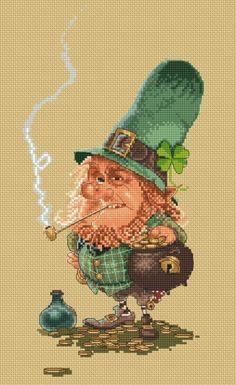 Cross Stitch Cart Pattern or Kit Goblin Leprechaun by Jean-Baptiste Monge