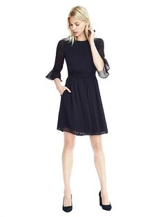 Dot Ruffle-Sleeve Dress (Color: Preppy Navy) $138