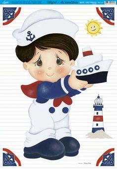Dibujos para bordar (varón) Sailor Theme, Nautical Cards, Decoupage, Kids Boxing, Baby Art, Diy Scrapbook, Cute Dolls, Fabric Painting, Birthday Decorations