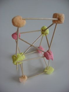 This is a fine motor activity for older kids, it takes a lot of coordination and a good heaping of patience to build even simple structures out of marshmallows and toothpicks. After a day the marshmallows will harden and the sculpture will be sturdier.
