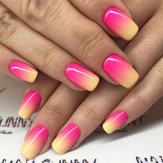 Hot Neon Ombre Nail Art. #neonnails Looking for gel nail polish diy designs ideas in different colors? Matte or glitter, classy or trending, we have everything you may need. #nails #naildesigns #nailart