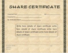 share certificate word template