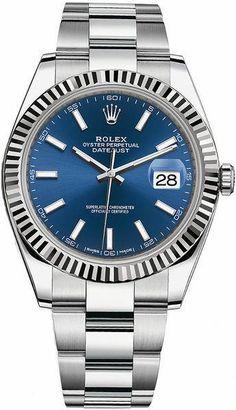 668e866ba4cb Rolex Watches Collection For Men   Rolex Datejust 41 Blue Dial Oyster  Bracelet Watch 126334
