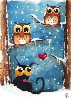 ACEO Print Folk Art animal illustration Stressie Cat Winter scene bird owl snow #IllustrationArt