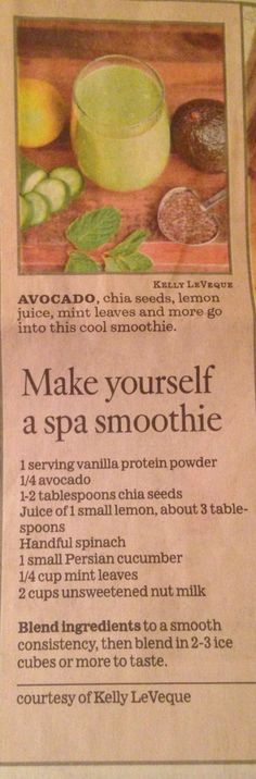 Spa smoothie in LA Times, by Kelly LeVeque.