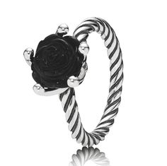 Pandora sterling silver black onyx rose ring