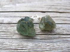 rough apatite earrings. sterling silver earrings in green apatite. raw stone jewelry. splurge. on Etsy, $36.00