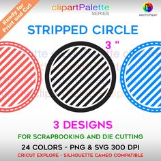 Striped Circle Clipart - SVG and PNG for Scrapbooking and Die Cutting - 24 Colors - 72 Files by ElectroPaper on Etsy