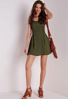 Missguided - Lace Up Detail Skater Dress Plain Khaki