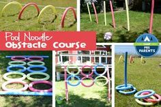 Make the most of the lazy days of summer with this pool noodle obstacle course! It is perfect for a kid's play date, party or a family time in the yard... and you can make up your own obstacles along the way! #CampPBSParents