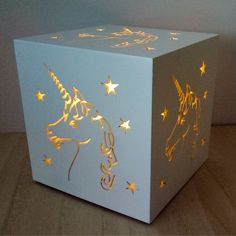 White Unicorn Starry Light Box