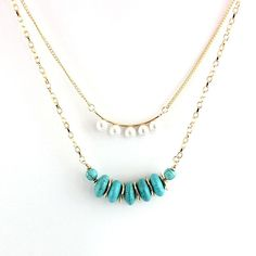 Turquoise Pendant Necklace Multilayer Women Natural Stone Necklaces Pendants Bohemian Long Gold Boho Jewelry Choker Sne160070