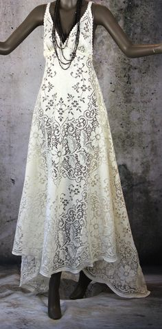 Hippie Boho Gypsy Fairy Lace Wedding Bridal Dress Gown by LaineeLee on Etsy