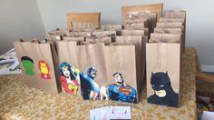 Super Hero Party favor bags Free Printable