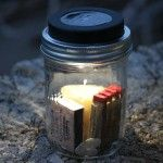 "While I am at summer camp I'll have a jar sitting on my picnic table with a spare headlamp or small flashlight inside in case night falls before I have bothered to find one. The jar also serves as a ""homing beacon""  as we walk back from evening activities."