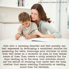 Kids with a #learningdisorder and #testanxiety can feel #empowered by developing a consistent routine for preparing for #tests. #Encourage your #children to write down test dates on a #calendar as soon as they become aware of them. Then, create a #studyschedule for the days leading up to the exam. Your children should use the method of #studying that works best for them, whether that means creating #flashcards or #reading aloud from the #textbook. #schooltips #testingtips #preparingfortests…