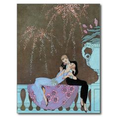 Vintage Art Deco Fireworks Kiss Save the Date! Postcard