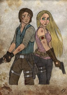The Walking Disney: Rapunzel and Flynn by Kasami-Sensei