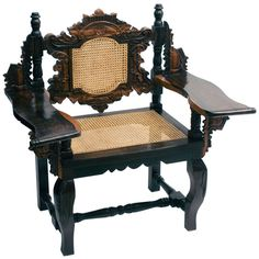 ***** For Foyer, option to present, not yet numbered on plan Eclectic Ceylonese Carved Ebony Armchair c1900