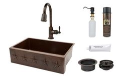 Premier Copper Products - KSP2_KASDB33229ST Kitchen Sink, Faucet and Accessories Package  #coppersink #kitchensinkpackages #dreamkitchen