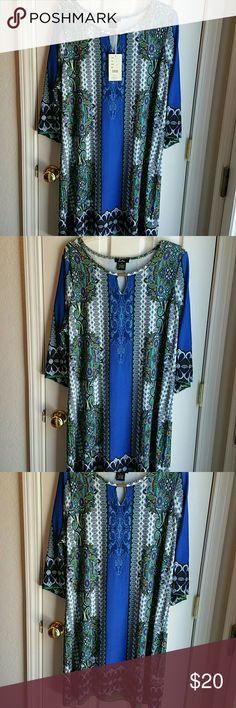 NWT FIFTH & LOVE BLUE PAISLEY DRESS SZ 2X NWT FIFTH & LOVE blue paisley print dress. Always in style, this paisley print has blue, green, turquoise, gold and white. Interesting neckline with gold color adornment. Poly-spandex fabric. (U) FIFTH & LOVE Dresses