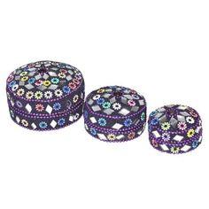 Purple Handmade Jewelry Box in Aluminium & Mirror Work,Set of 3