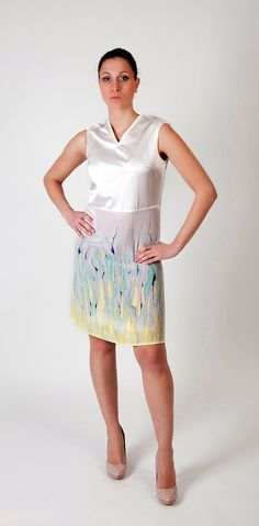 SALE Spring dress hand painted V neck medium small by Relogyyy, $137.00