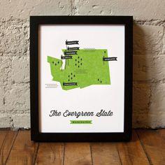 Washington State Map design inspiration on Fab.    #DanCamacho.com #Design