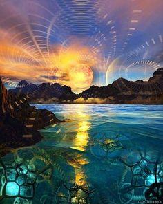 Sunset by Luminokaya  www.acidmath.me #trippy #trippyart #acidmathspiral #vision #visionary #spirit #spiritual #psychedelic #psychedelicart #mushrooms #dmt #acid #lsd #marijuana #sun #sky #sunset #lake #water #ocean #nature #mothernature #mountains #sacredgeometry #fractals #luminokaya - http://ift.tt/1VH9ijQ