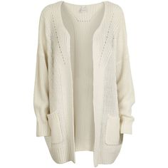Vila Briannas Knit Cardigan ($47) ❤ liked on Polyvore featuring tops, cardigans, jackets, outerwear, sweaters, white, cable cardigan, open front cardigan, open front knit cardigan and white knit top