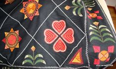 Traditional woolen sledge blanket from Finland Swedish Design, Nordic Design, Viking Age, Finland, Cool Words, Christmas Time, Folk Art, Applique, Traditional