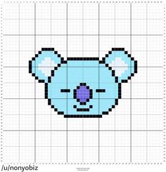 Kawaii Cross Stitch, Cross Stitch Art, Beaded Cross Stitch, Cross Stitch Designs, Cross Stitching, Cross Stitch Patterns, Easy Pixel Art, Pixel Art Grid, Pixel Pattern