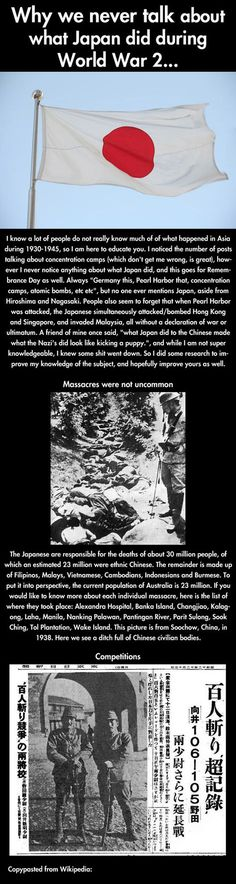 Japanese atrocities from WW II - I'm not trying to be vindictive here; I'm not that kind of person and I have NOTHING against Japan or Japanese people today. But history is what it is - and history hurts. Click the pin to read the rest.