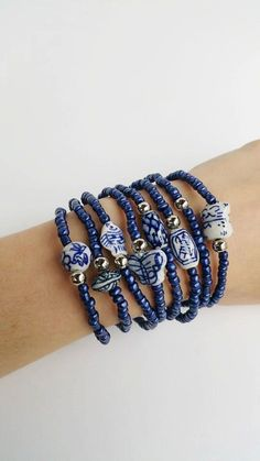 Oxford Blue Friendship Bracelets Boho Chic by TresJoliePT on Etsy