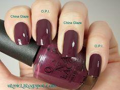 Did someone say nail polish?: Comparison: O.P.I. Boris & Natasha vs. China Glaze - VII (thanks to Alluring mum)