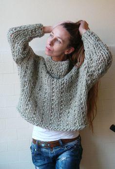 Get your Chunk on Sage green bamboo mix chunky sweater by ileaiye,