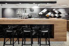 Lingenhel Vienna - Shop, Bar, Restaurant and Cheese Dairy Bar Interior, Restaurant Interior Design, Restaurant Bar, Architecture Design, Counter Bar Stools, Prefab Homes, Design Firms, Home Furnishings, Furniture
