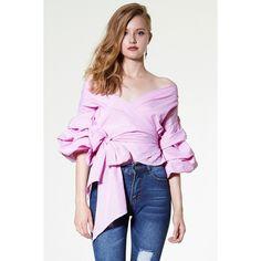 Vivian Ruched Sleeve Top (79,470 KRW) via Polyvore featuring tops, pink tops and ruched sleeve top